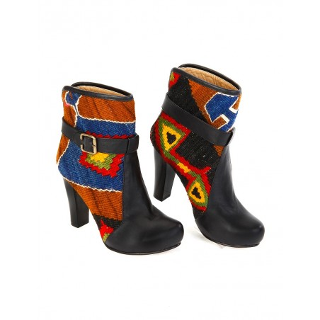 Ankle boots with kilim fabric