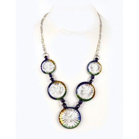 Multicolour crystal and silver necklace