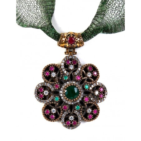 Ottoman silver pendant  with flowers