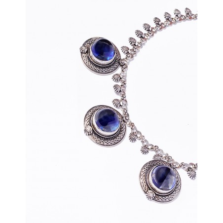 Silver Necklace with three crystal balls