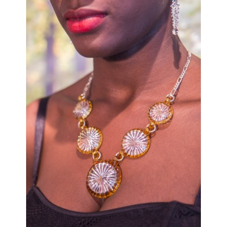 Silver necklace and yellow crystal glass