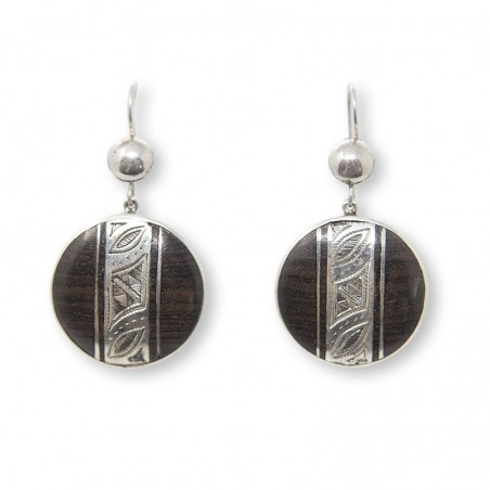 Round silver and ebony earrings