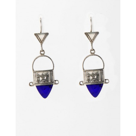 """Tuareg silver and blue earrings """"Ingall"""""""
