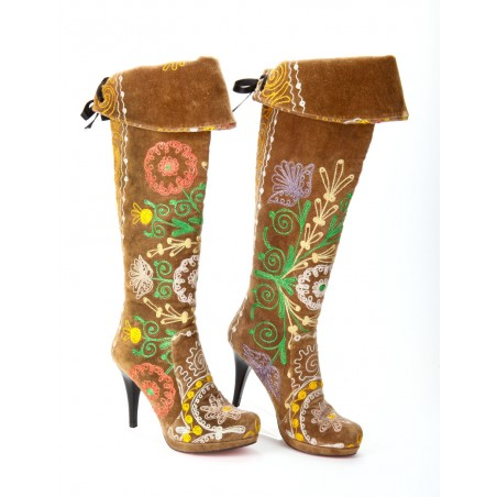 Musketeers Boots with Platform in embroidered Suzani Fabric
